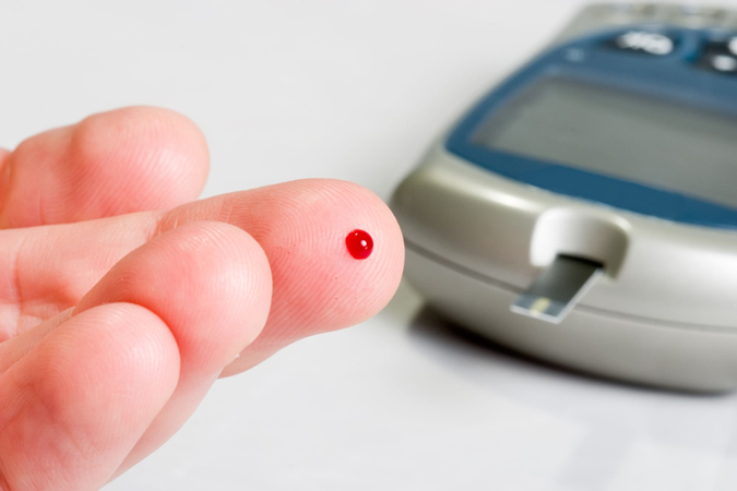 diabetes finger prick blood test